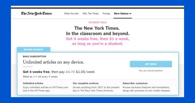 NYT Student Sub